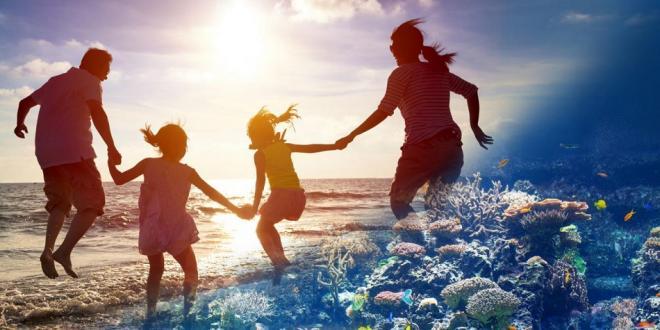 family beach fun